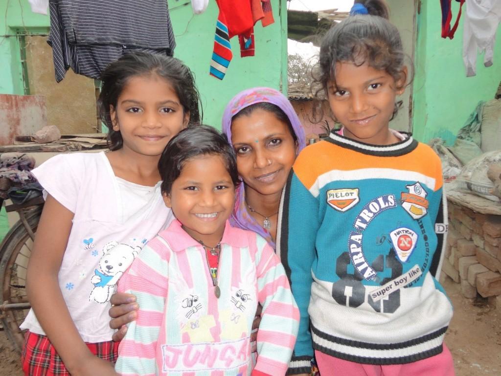 Neha, Anshu, Sunitha (mother) and Suman
